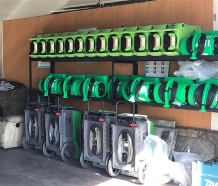 SERVPRO equipment in storage facility