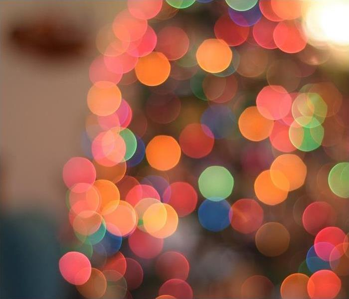 close-up of holiday lights; blurred for effect