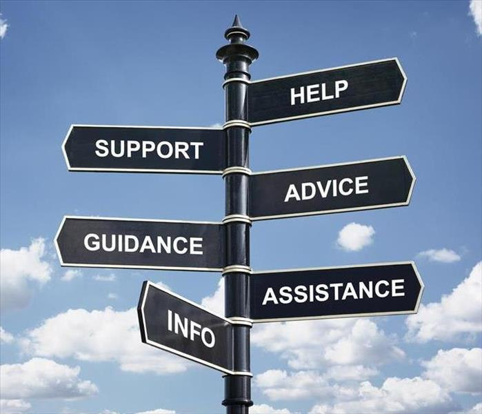 A sign that shows word, Help, Support, Advice, Guidance, Assistance, and Info